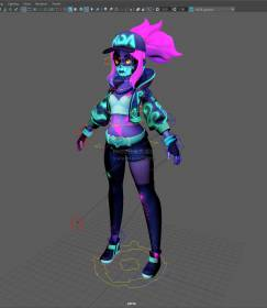 神秘暗黑系萝莉女性人物角色maya模型!带骨骼绑定!Akali full rigged with textures